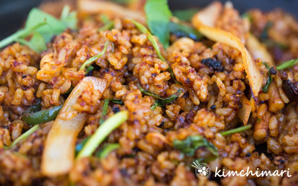 close up of fried rice made with left over osam bulgogi