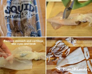 4 step by step pics of how to clean and cut squid into pieces