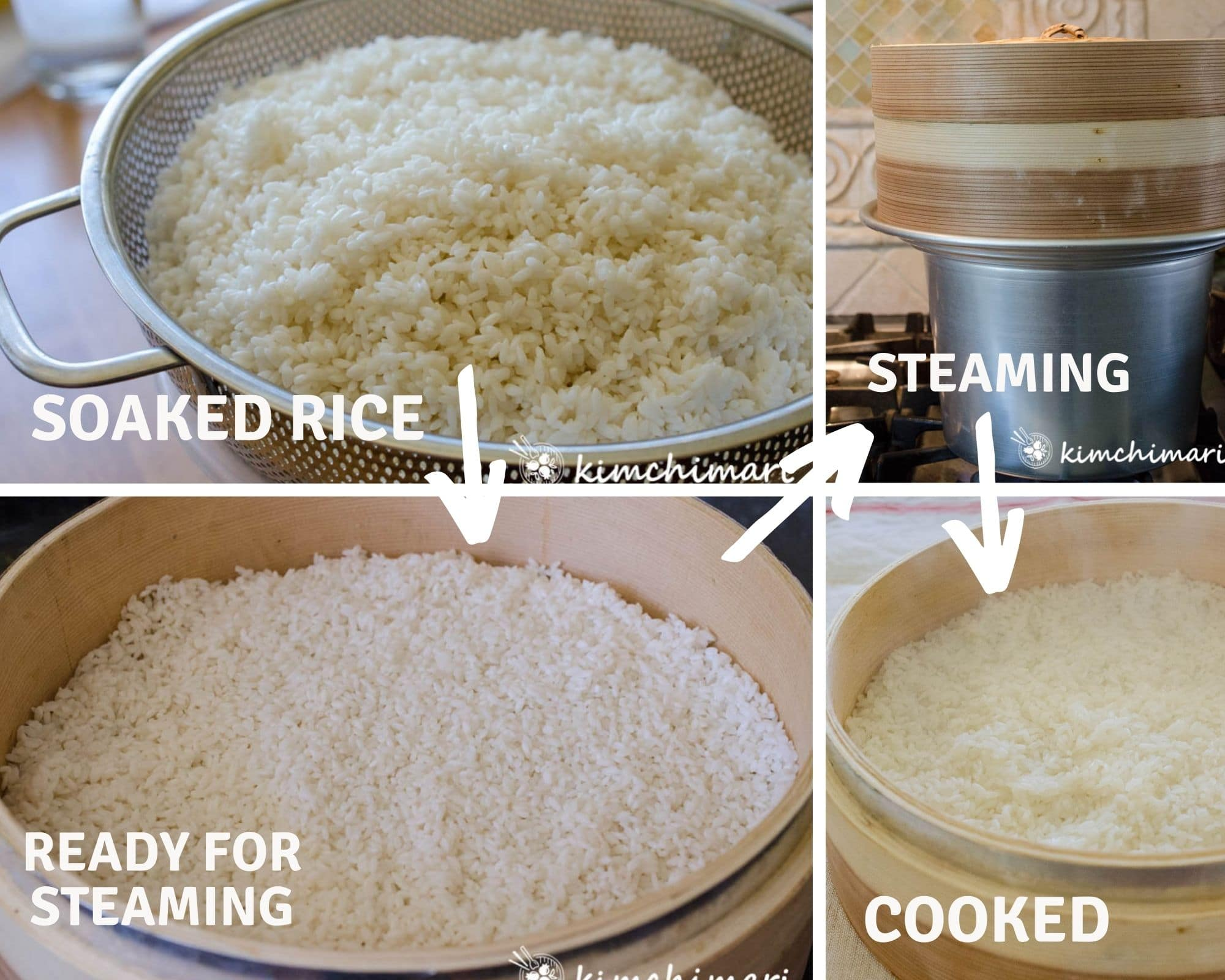 4 step by step image for soaking, steaming rice in bamboo steamer