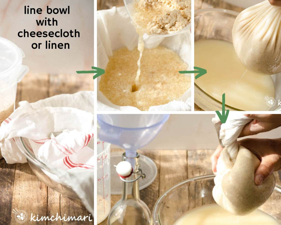 step by step pics showing filtering makgeolli with cheesecloth