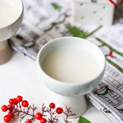 makgeolli served in goblet with christmas decor