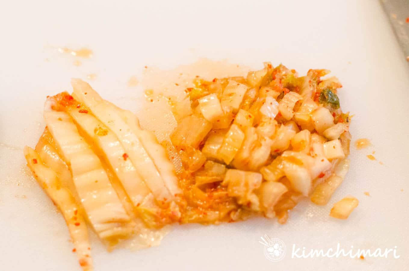 chopped kimchi on cutting board